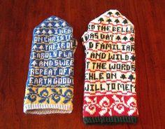 poetry mittens Crochet Mittens, Fingerless Mittens, Knitted Hats, Knit Crochet, Fair Isle Knitting, Knitting Socks, Wrist Warmers, Hand Warmers, Christmas Poems