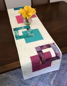 """Moderrn Batik Table Runner, Colorful Handmade Reversible Quilted Tablerunner, 14-1/2""""x59""""(37cmx150cm) Table Quilt, Contemporary Dining Decor by FabriArts on Etsy Teal Color Schemes, Invisible Stitch, Autumn Table, Fabric Postcards, Green Table, Dining Decor, Quilted Table Runners, Wool Applique, Table Toppers"""