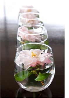 These would be so cute as centerpieces. A single gerber daisy in a stemless wine glass = simple and pretty.