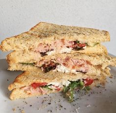 Wholemeal Toasted Sandwiches {with hummus, sliced ham, lettuce, roasted capsicum, feta cheese and cracked pepper}