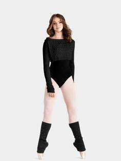 Black Leotard White Tight Ballet Warmer Socks