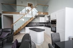 This open string Oak staircase looks elegant with the glass balustrade Glass Balustrade, Staircases, Joinery, My House, Stairs, Elegant, Bed, Furniture, Home Decor