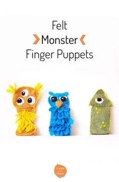 Such an easy sewing project! DIY Monster felt finger puppets - includes a free printable pattern with the tutorial. Sewing Projects For Kids, Diy Craft Projects, School Projects, Craft Ideas, Finger Puppet Patterns, Felt Finger Puppets, Hand Puppets, Felt Monster, Toddler Crafts