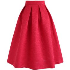 Chicwish Flowers All Over Embossed Jacquard Midi Skirt in Red ($45) ❤ liked on Polyvore featuring skirts, flower midi skirt, jacquard skirt, calf length skirts, mid-calf skirt and midi skirts