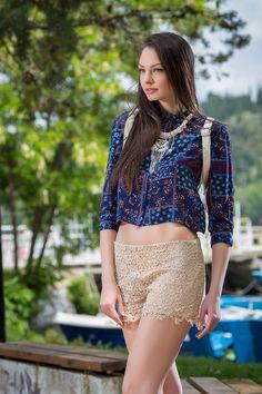 Πουκάμισο Μπλε Εμπριμέ Κοντό, YourLook Sequin Skirt, Sequins, Crop Tops, Skirts, Women, Fashion, Moda, Sequined Skirt, Skirt