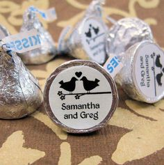 Lovebirds Personalized Wedding Hershey Kisses Stickers Labels Favors