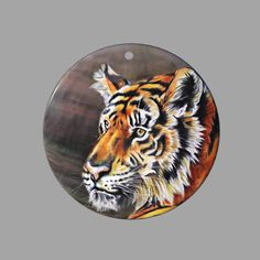 HAND PAINTED TIGER SHELL JEWELRY NECKLACE PENDANT ZP30 00901 #ZL #PENDANT