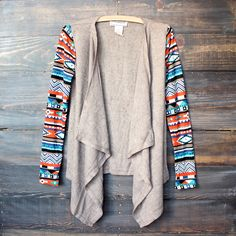 aztec print sleeves lightweight cardigan - taupe sweater tribal indie boho indiefashion southern southwestern fall winter from shophearts