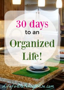 I feel like I am in getting control of my life - getting organized has helped…