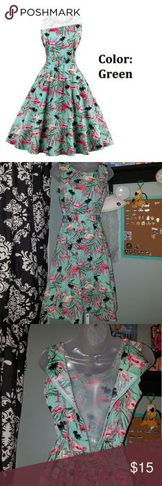 """Flamingo Teal Dress 1950s 1960s mod style Palm has been worn and washed. this will.come with wrinkles due to material. Size Large and is true to size. recommended to wear a petticoat under. i am 5 ft and it goes  under my knee  flat measurements  armpit to armpit 18 in waist 15"""" Dresses Midi"""