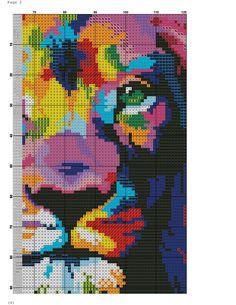 Rainbow Lion Page 2 of 5 Cute Cross Stitch, Cross Stitch Animals, Modern Cross Stitch, Cross Stitch Designs, Cross Stitch Patterns, Cross Stitching, Cross Stitch Embroidery, Pixel Art, Rainbow Lion