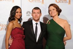 "Actress Zoe Saldana, actor Sam Worthington and actress Sigourney Weaver, winners of Best Motion Picture, Drama award for ""Avatar"" pose in the press room at the 67th Annual Golden Globe Awards"