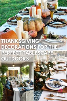 Thanksgiving decorations aren't complete without the perfect Thanksgiving table decor. Outdoor Thanksgiving, Thanksgiving Table Settings, Thanksgiving Parties, Thanksgiving Decorations, Table Decorations, Tablescapes, Turkey, Dinner, Home Decor