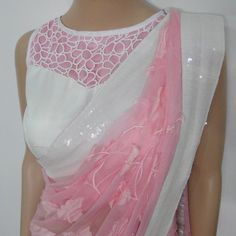 Pink White #Saree