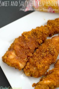 Sweet and Salty Chicken Tenders -- the breading is made with Twinkies! You don't want to miss out on this one-of-a-kind recipe, as well as honey mustard sauce. Honey Mustard Sauce, Chicken Tenders, Easy Dinner Recipes, Dinner Ideas, Sweet And Salty, Food Dishes, Main Dishes, Meals, Dinners