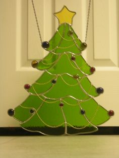 Christmas tree with bead chain and globs for decoration