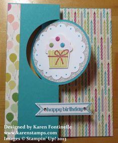 Birthday Invitation,Cupcake Birthday Flip Card,Stampin Up Birthday Cards