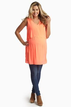Neon-Coral-Scalloped-Overlay-Chiffon-Maternity-Tank-Top