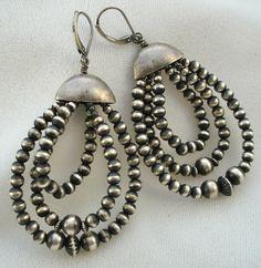 navajo pearls sterling silver earrings