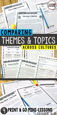 Comparing Themes & Topics Across Cultures: 4 mini lessons. Students are introduced to (or review) topic, pattern of events (plot), and theme.  •Comparing Themes & Topics Across Cultures (introduction) •Compare & Contrast 2 Greek Myths •Compare & Contrast 2 Fables •Compare & Contrast 2 Trickster Folktales
