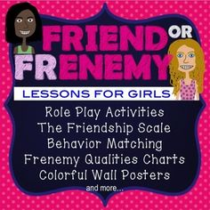 This friendship pack helps girls distinguish true friends from frenemies.  Teachers and Counselors can use these activities to reduce drama and promote healthy friendships.Includes:Role Play ActivitiesThe Friendship Scale Behavior MatchingFrenemy Qualities ChartsColorful Wall Postersand more