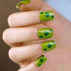 ArtPlus 24pcs St. Patrick Clover Green False Nails with Glue Full Cover Medium Length Fake Nails Art >>> You can get additional details at the image link. (This is an affiliate link and I receive a commission for the sales) #FalseNails