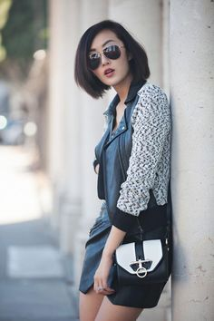 Chriselle Lim rocking a #GUESS moto jacket and leather miniskirt