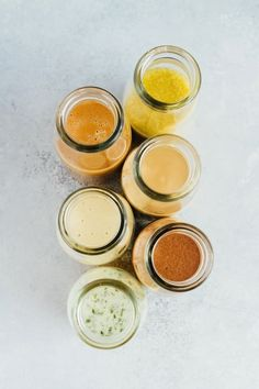 6 HEALTHY homemade salad dressings that are super easy to make. These delicious dressings will take your salad to the next level.