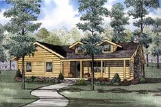 Elevation of Log   House Plan 61152