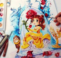 La Belle et la Bete I love the new Disney Beauty & the Beast movie ♡ 《>~< And it's time to show you the next Princess in the Bott. Beauty and the Beast Disney Princess Drawings, Disney Princess Art, Disney Drawings, Cartoon Drawings, Cute Drawings, Drawing Disney, Punk Princess, Disney Kunst, Arte Disney