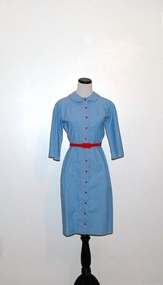 Vintage Red on Blue Dress by CheekyVintageCloset on Etsy, $28.00