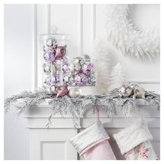 Celebrate in style with the natural elements of metallic silver and holiday swag in this Shabby Chic Christmas Collection. Greenery painted in sparkling metallic shades, plush stockings and crisp white pine trees decorate this collection with brilliance and wonder. You'll enjoy a variety of shiny, glittered and satin classic ball ornaments – perfect for accessorizing your tree.