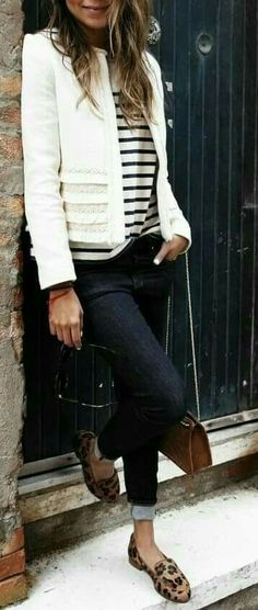 white , dark jeans , stripes