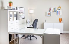 Basement Home Office…from nothing to this!  A duo space for 2 busy people. #smallspace #homeoffice #redesign #storagesolutions www.nicheredesign.com