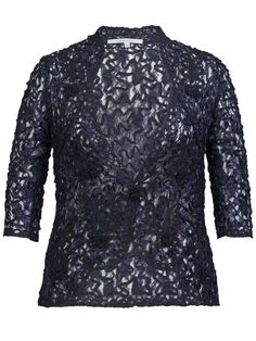 Navy Lace Cornelli Jacket £115 - Luxury lace is crafted to fit and flatter for that oh-so-special occasion. Worn over navy cami and navy palazzo trousers or with matching dress, this will take pride of place in a wardrobe after your special day. — at http://www.chescadirect.co.uk/products/1416-navy-lace-cornelli-jacket-pre-order.