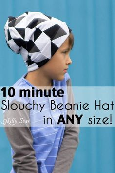Make a beanie hat - you don't need to know how to knit to sew these easy slouchy beanie hats from knit fabric.