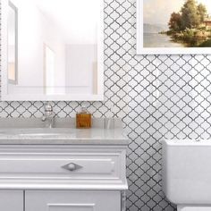 SomerTile 9.5x10.75-inch Marrah Lantern Glossy White Porcelain Mosaic Floor and Wall Tile (Case of 1