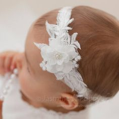 Baby headband, christening headband, pearl headband, baptism headband, pearl and lace headband Baby Christening Dress, Christening Headband, Baptism Gown, Flower Girl Headbands, Lace Headbands, Headband Baby, Pearl Headband, Flower Hair Accessories, Pearl And Lace