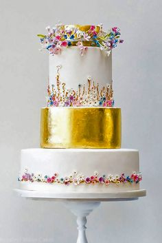 Elegantly Colored Wedding Cakes ❤ See more…