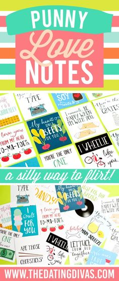 Punny Love Notes to Flirt with Your Spouse.. Cute printable love notes.