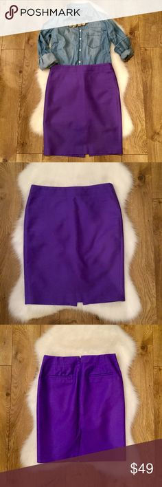 "J. Crew No.2 Pencil Skirt•Purple•6 J. Crew No.2 Pencil Skirt in Purple. 95% cotton, 5% spandex. 22"" long. No marks or damage. Size six. EUC J. Crew Skirts Pencil"