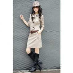 $14.46 Slim and Popular Long Sleeves Cotton Dress With Belt For Women
