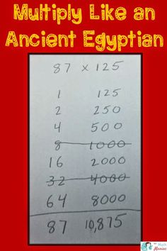 Help your students develop a deep understanding of multi digit multiplication by looking at how ancient Egyptians handled multiplication.