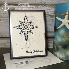 Stampin Up CAS Christmas Card made with Star of Light stamp set, Starlight Thinlit Dies, Softly Falling TIEF and Silver Foil Sheets, BeyondBeachesandBlessings.com