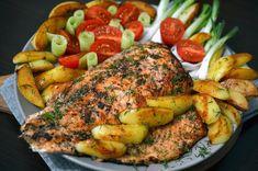 Somon la tigaie cu cartofi noi si salata de legume (de post, dezlegare la peste) Chicken, Salads, Cubs