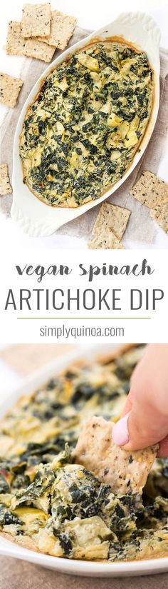 This easy VEGAN Spinach Artichoke Dip is made with less than 10 ingredients, cooks in just about 30 minutes and tastes just like the traditional recipe!