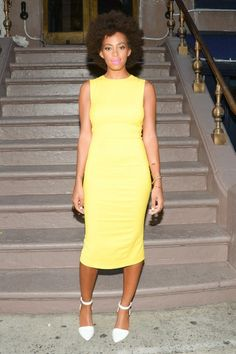 Solange Knowles... I would add a high waisted belt to set it off!!