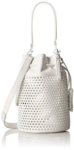 LOEFFLER RANDALL Industry Bucket Cross Body Bag Laser-cut leather lends a tactile edge to this Loeffler Randall bucket bag. A drawstring cinches the top, and 2 Laser Cut Leather, White Purses, Loeffler Randall, Season Colors, Pocket Detail, Dust Bag, Shoulder Strap, Cross Body, Crossbody Bag