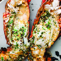 Grilled Lobster with Garlic-Parsley Butter, rice and veg (reception dinner option Lobster Dishes, Lobster Recipes, Fish Dishes, Seafood Dishes, Fish And Seafood, Fish Recipes, Seafood Recipes, Great Recipes, Cooking Recipes