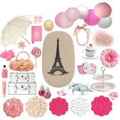 More Pink Paris Party by hrvintage on Polyvore featuring interior, interiors, interior design, home, home decor, interior decorating, Pier 1 Imports, Cavallini, Lanvin and Fantasy Jewelry Box